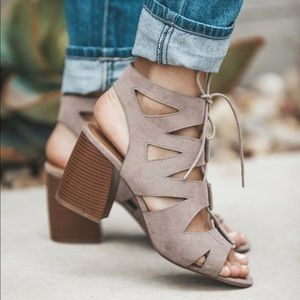 Taupe strappy chunky heel